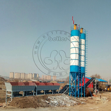 capacity 25m3 concrete plant HZS25 skip hopper type total station