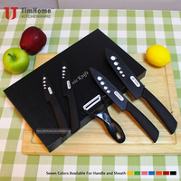 2016 hot sell high quality 5pieces color ceramic knife set with sheath in EVA gift box pack