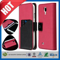 Red pu leather card holder case for samsung galaxy s4
