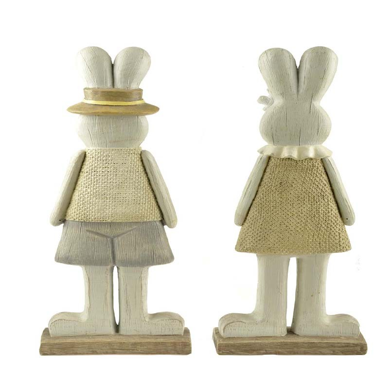 Polyresin rabbit couple firgurines for garden decoration