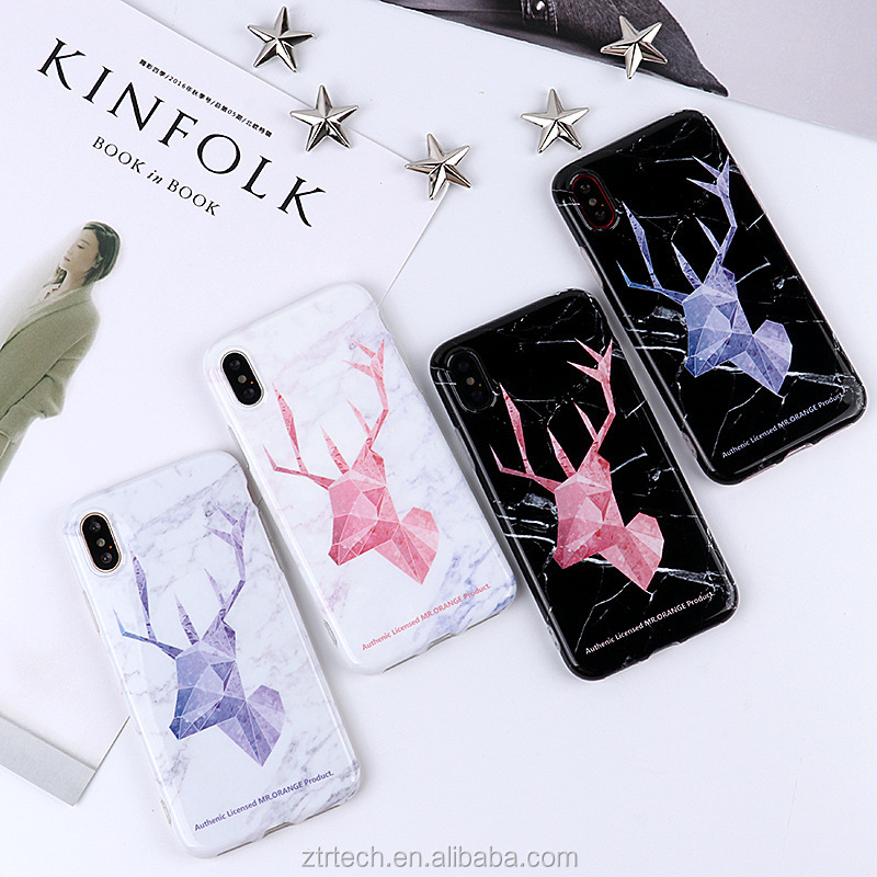 Luxuy IMD polished marble phone case for iphone x 8 7 cracked white marble elk phone case for iphone 10 6 6plus