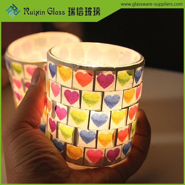 Factory price cracked glass candle holder,glass candle jar with lid manufacturer