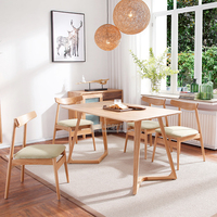 Scandinavian dining room furniture solid ash wooden tables and chairs for restaurant