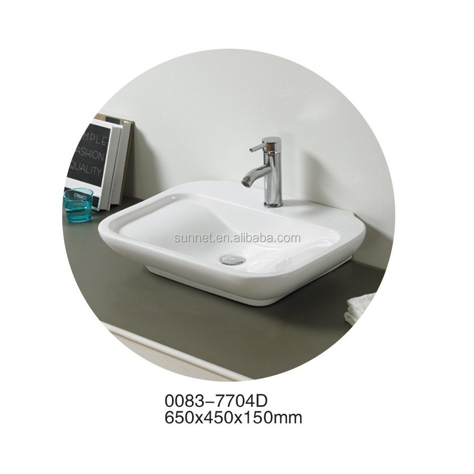 7704D rectangle series Mondern Design square Ceramic Wash Hand Single Sink White Wash Bowl Bathroom