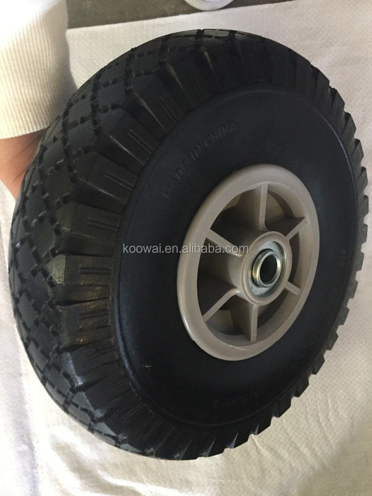 "3.00-4 pu wheels 10"" flat free tire for hand trolley scooter and kid toy"