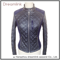 Black motorcycle leather pu jacket for indian ladies