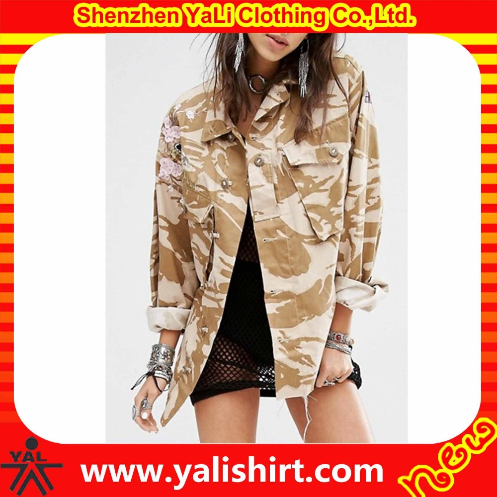 Hot sale fashion comfortable cheap oversized 100%cotton camo embroidery military great coat for women
