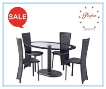 modern high quality oval tempered glass dining tables with medal base