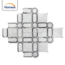 Hot Sell White Waterjet Marble Mosaics Interior Wall Decorative Carrara White Basketweave Marble Mosaic