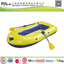 ICTI manufacturer fashion OEM water sports yellow heavy duty pvc single inflatable boat with paddles