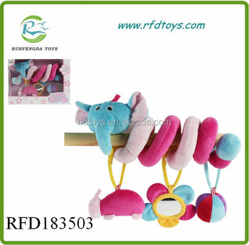Plush baby bed hanger soft toy plush elephant rattle toys hanger bed rattle