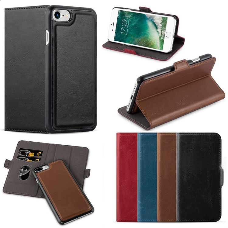 E-tree Original Multifunctional Detachable Magnet Leather Flip Cover Case For iPhone 7 With 2 Card Holder