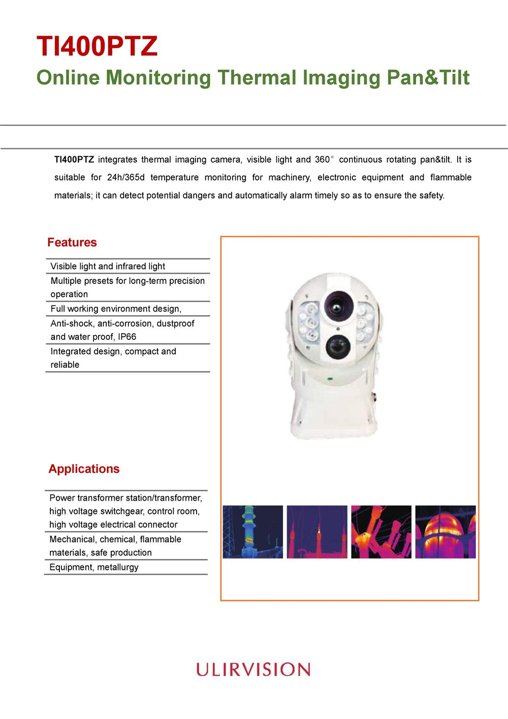 ULIRVISION Online Monitoring Thermal Imaging Pan&Tilt TI400PTZ High Quality
