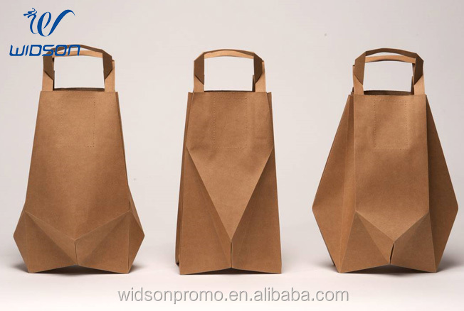 Custom printed logo cheap brown paper bag bag with handle for wholesale