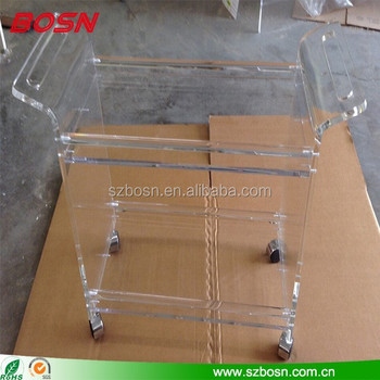 CLEAR ACRYLIC ROLLING BEVERAGE BAR SERVING CART MODERN ACRYLIC TROLLEY FOR BAR