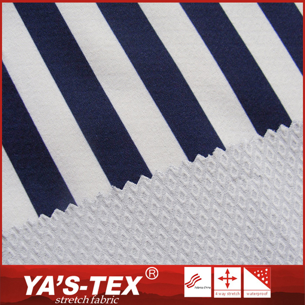 Alibaba China fashion design navy and white stripe printed spandex polyester jacquard fabric for summer dress from YA'S TEX