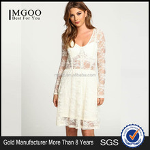 MGOO High Quality Women Korea White Lace Dress Brustier See Through Dresses White Long Sleeves Vestidos