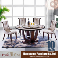 wood base and round marble top dining table