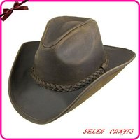 Buffalo Leather Natural Straw Cowboy Hat, Promotion Straw Hat