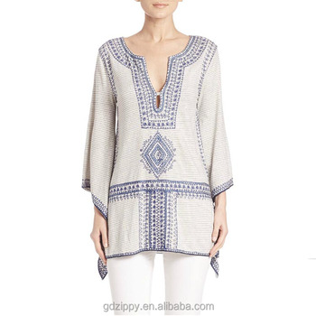 V-neckline Long Sleeve Woman Embroidery Tunic Tops