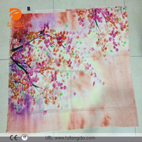 2015 fashionable 72s printed folwer tree lady 100%wool scarf