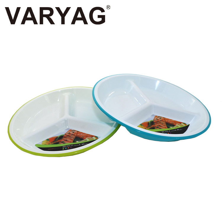 New design food grade material brighter BPA free colour 3 compartment sectional double color plastic charger plate