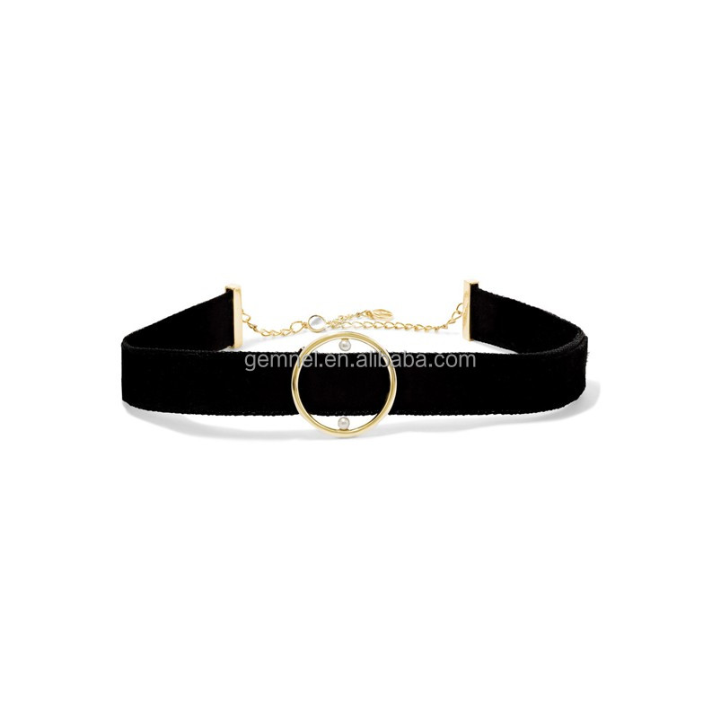 New trend 2017 fashion women gold circle pearl plain black velvet choker