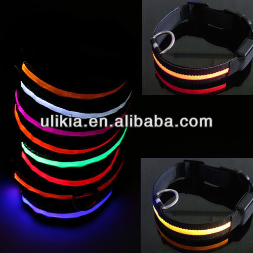 New waterproof 8 Colors 3 sizes Nylon Safety LED Flashing Light Up Dog Pet glow collar