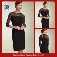 Mo1108 Black Taffeta Long Sleeves High Neck Mother Of The Bride Dress