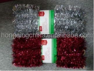 Foil pvc tinsel christmas wire garland with head card / lametta garland