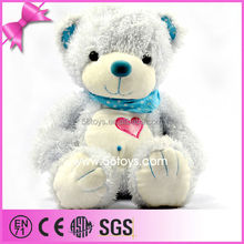 Blue Color PV Plush Material Affixed Shinny Cloth Embroidered Red Heart Cute Soft Stuffed Plush <strong>Toys</strong>