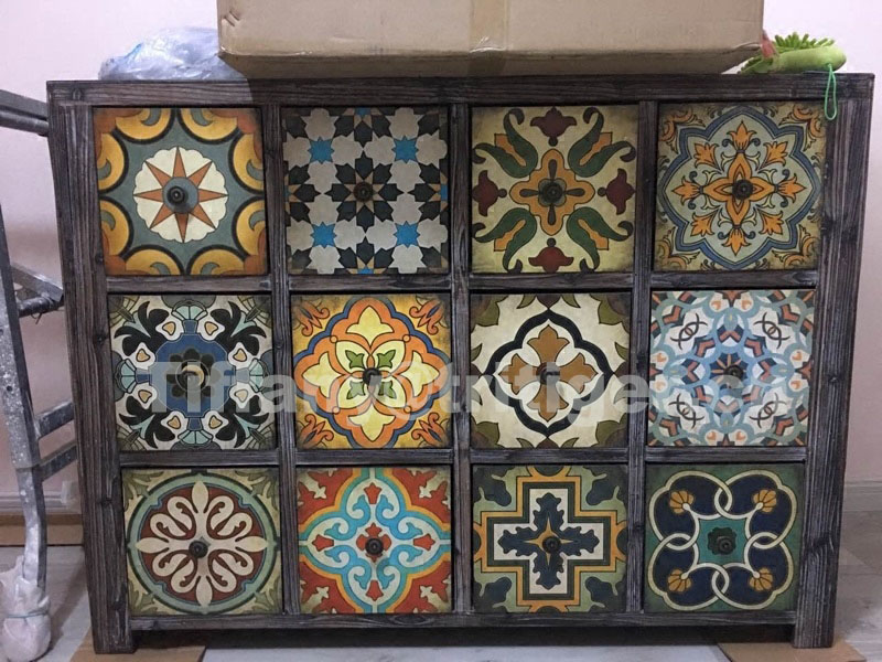 Caoxian solid wood printing color antique vintage cabinet furniture