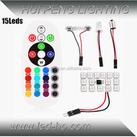 15LED 12V RGB LED Bulb With Remote Controller And BA9S / T10 / Festoon Adapter