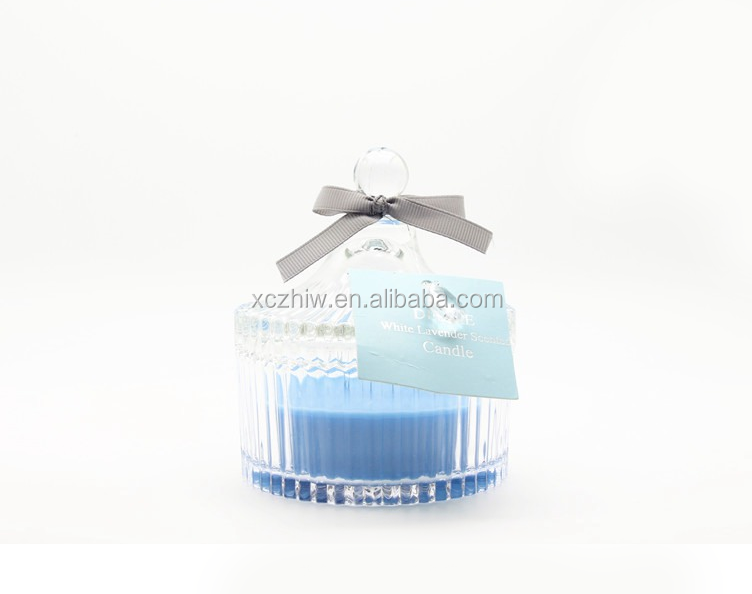 Spruce And Bamboo Scent Candle In Glass Jars With Ribbon, OEM Crystal Glass Candle
