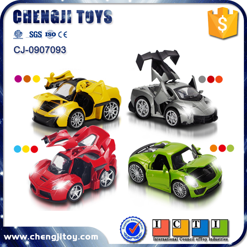 Open door 1 32 scale diecast cars pull back toy electric car model with light and music