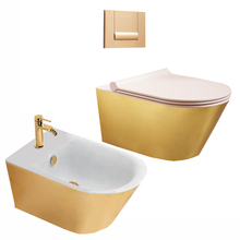 plated gold <strong>wall</strong> toilet bidet combined china ceramic lavatory sink women wc bath shower toilet sink black star basin <strong>decor</strong>
