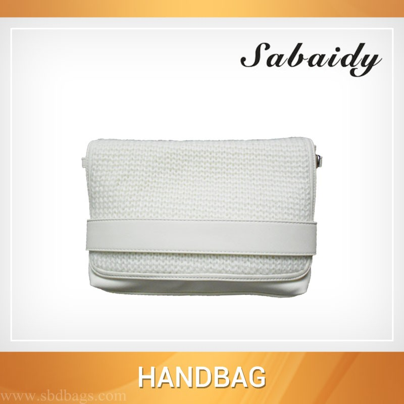 Winter white knit one shoulder bag crossbody purses handbag for girls
