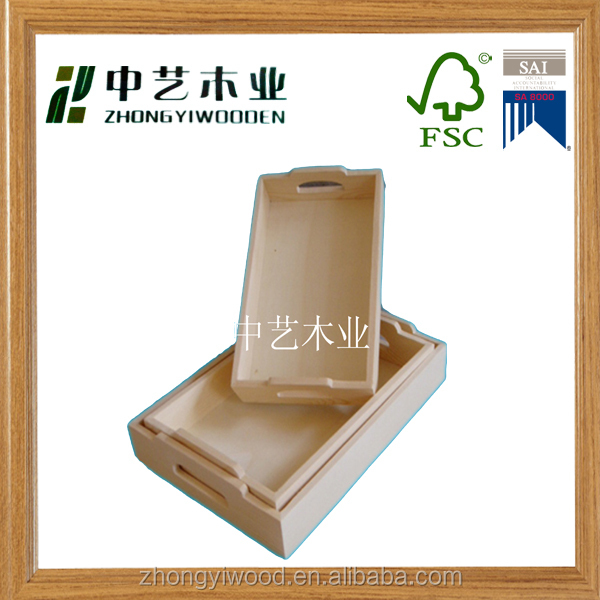 handmade solid wood customized wooden rectangular serving trays