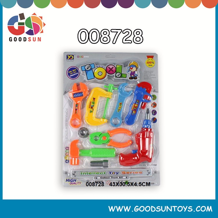 educational woodworking plastic tool toy 9pcs mini kids toy tool kit for kids