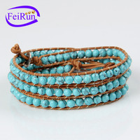 FEIRUN 6mm 4rows leather bracelet genuine men, simple genuine leather bracelet, turquoise bracelet