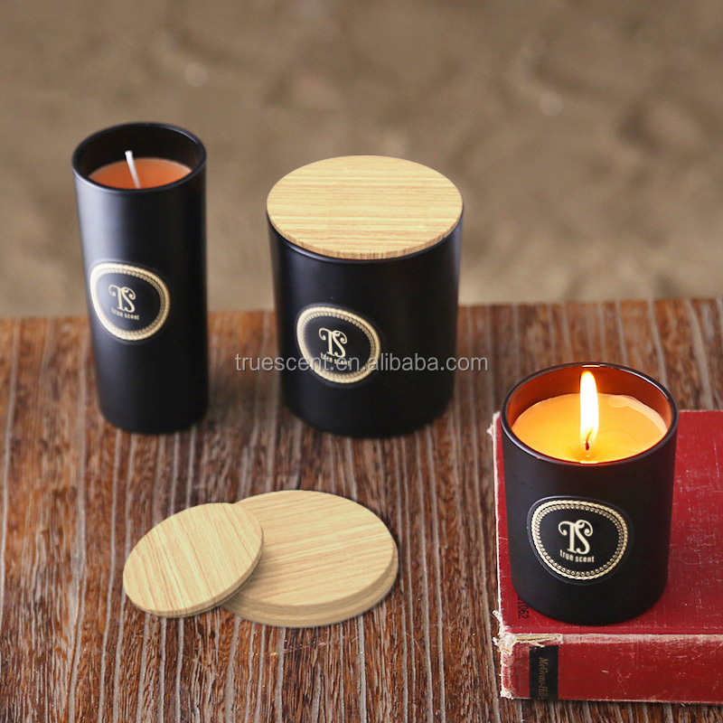 Wholesale black color pillar glass jar with wooden candle holder
