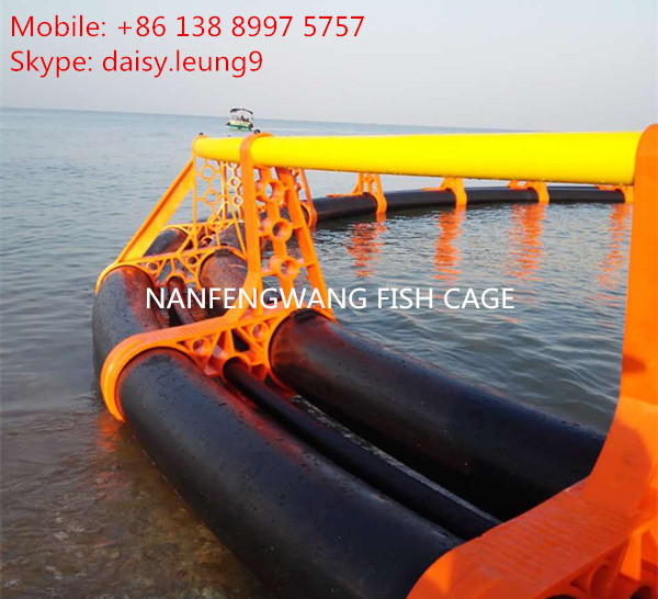Strom resist HDPE floating fish cage with mooring system in the sea