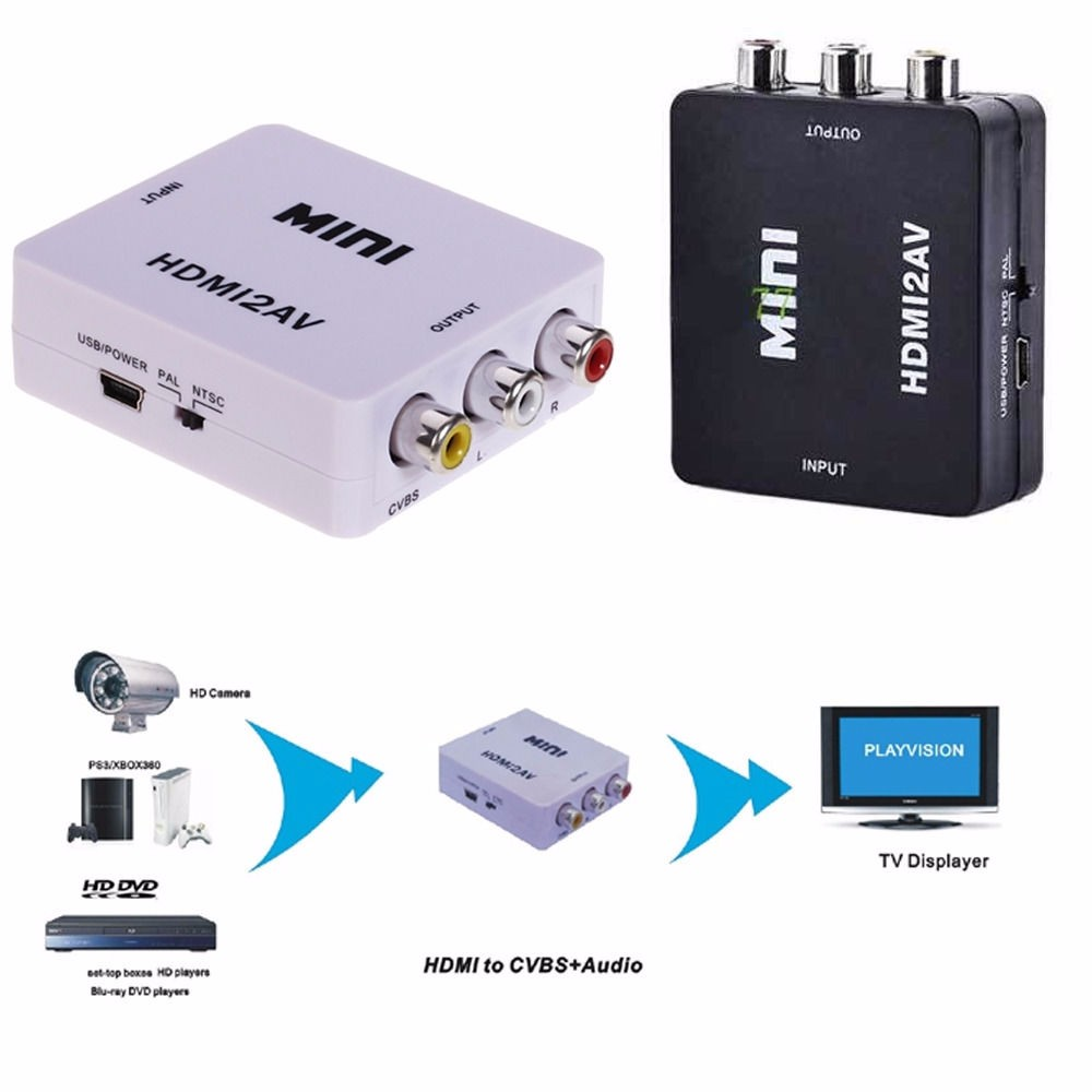 HD Video Mini HDMI2AV Adapter HDMI To AV Converter Adapter