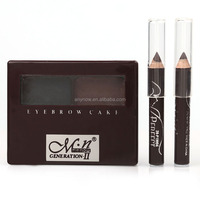 Menow Bicolour Eyebrow Powder Cake With Brush and Eyeliner Pencils