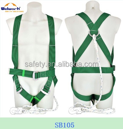 Full body safety harness with lanyard