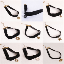 2016 new WHOLESALE BLACK VELCET CHOKER necklace for women jewelry accessories moonso K4Q