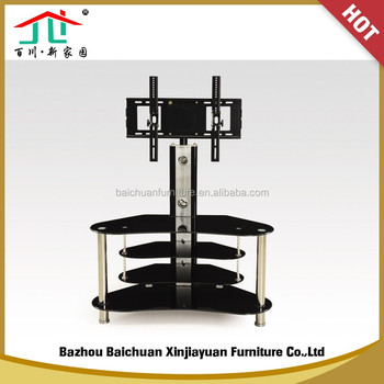 2017 Black Tempered Black Glass Top / Aluminum Alloy Popular TV Stand
