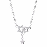 Women Zirconia Star Necklace 925 Sterling Silver Jewelry Brand Charm Stars Pendant Chain Statement Necklace For Women