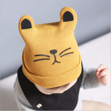 Cute Baby Skullies Baby Boy Girls Cats Beanies Eras Kitty Hat Knitted Crochet Infant Newborn Baby Smiling Caps 3-24M