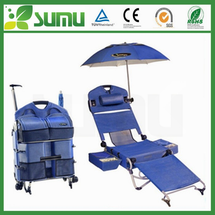 High quality easy taking reclining folding beach chair with umbrella